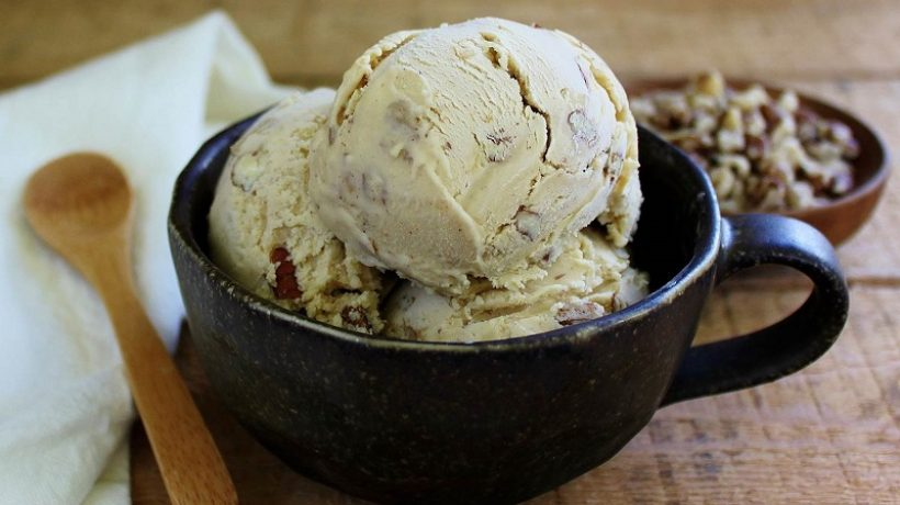 Homemade black walnut ice cream without ice cream maker in 5 minutes